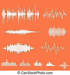Vector Sound Waveforms. Sound waves and musical pulse