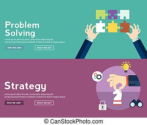 Flat style business research infographic concept and Investment research.  Web banners templates set.