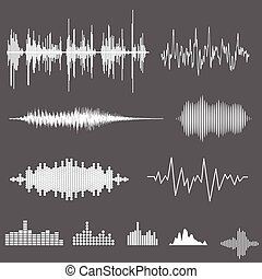 Vector Sound Waveforms Sound waves and musical pulse