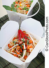Take Out Noodles - Chili rice noodle vermiceli in take away...