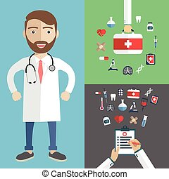 Doctor showing diagnoses with medical icons, patient care