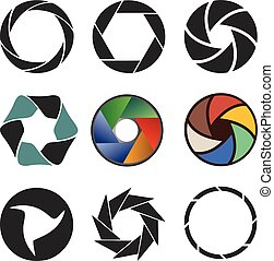 Set of camera shutter icons. Vector illustration