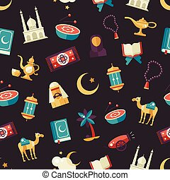 Seamless pattern with islamic culture icons