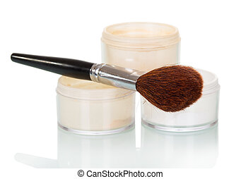 Cosmetic brush and powder jar of face isolated on white -...