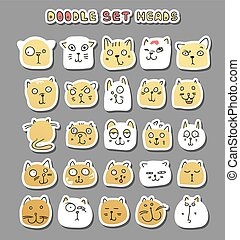 Set 25 doodle cats with different emotions handmade. Cat...
