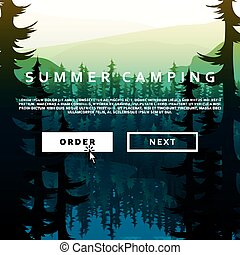 Summer nature landscape on background of mountains forests and rivers