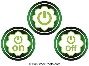 Green icon clipart on off symbol - Green icon with a symbol...