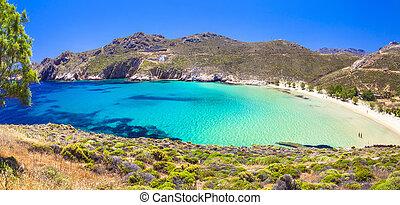 hermoso, Cyclades, isla, Serifos, grecia, -, esmeralda,...