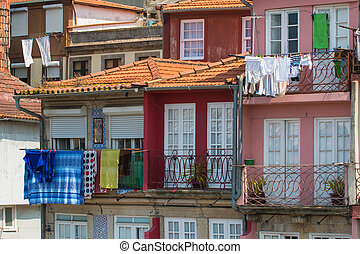 Oporto old buildings - Facade from Oporto building in the...