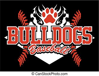 bulldogs baseball team design with flaming paw print for...