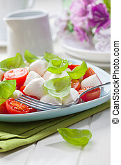 Tomato and mozzarella salad with fersh basil