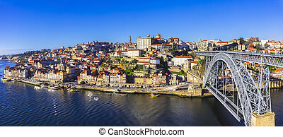 beautiful Porto - view with famous bridge of Luis, Portugal
