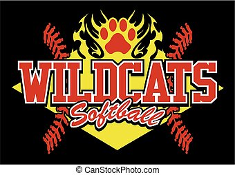 wildcats softball team design with flaming paw print for...