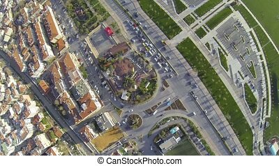 City traffic at an intersection in Istanbul Top down, Aerial...