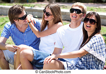 Portrait of a Young group laughing