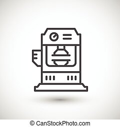 Hydraulic press machine line icon isolated on grey Vector...