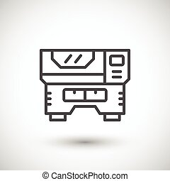 Laser machine line icon isolated on grey Vector illustration...