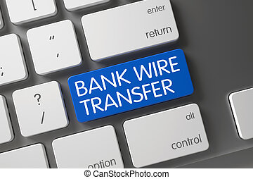 Blue Bank Wire Transfer Keypad on Keyboard. - Metallic...