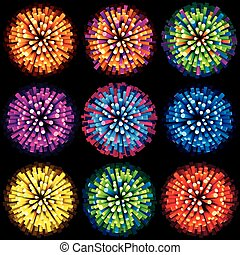 Sparks and Fireworks. Vector Collection - Sparks and...