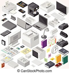 Isometric Office Equipments and Interior Items. Vector...