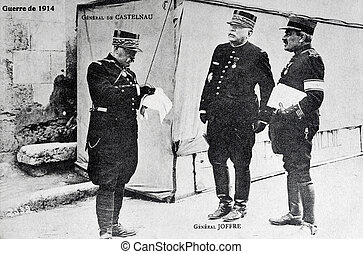 General de Castelnau and Joffre - old postcard of the War of...