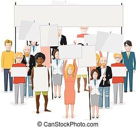 套間, 暴亂, 人群, 人們, 插圖, 顯示, 空, 白色, 海報