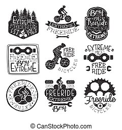 Freeride Bikes Vintage Stamp Collection Of Monochrome Vector...