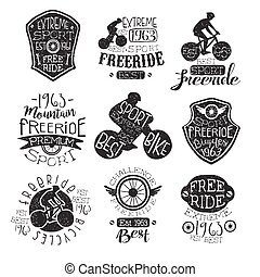 Mountain Bike Vintage Stamp Collection Of Monochrome Vector...