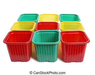 Food containers - Plastic food containers on a white...