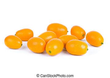 Few kumquat fruits  isolated on the white background