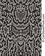 Snake python skin texture. Seamless pattern black on white...