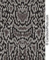Snake python skin texture. Seamless pattern black on white...