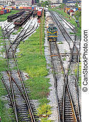 Railway Yard Complex Series of Railroad Tracks for Sorting...