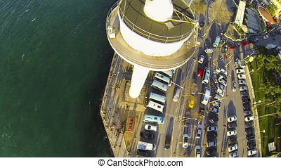 Flying over Radar Tower. - Vessel traffic radar navigation...