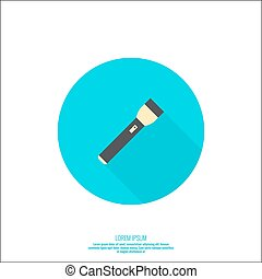 Vector icon with flashlight Vector flat flashlight...