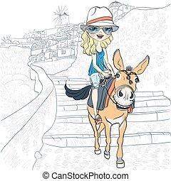 Beautiful girl on a donkey in Oia, Santorini - Beautiful...