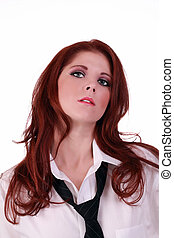 Young caucasian woman white shirt and tie