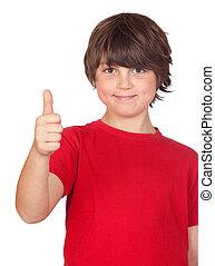Freckled boy saying OK isolated on white background