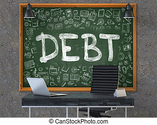 Chalkboard on the Office Wall with Debt Concept - Green...