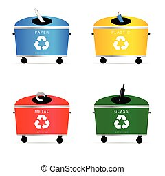 trash cans illustration in colorful