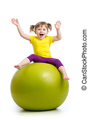kid girl doing gymnastics with ball isolated on white...