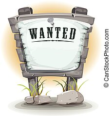 Cartoon Stone Sign With Wanted On Torn Paper