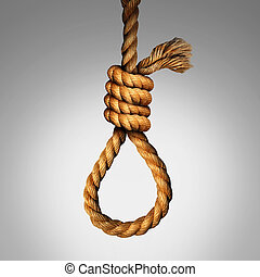 Suicide Noose Concept - Suicide Noose concept as a rope in a...