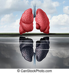 Lung Health Concept - Lung health concept as healthy lungs...