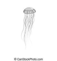 Monochrome Jellyfish Floating in Space - Monochrome...