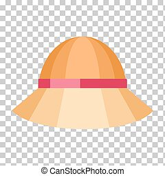 Summer Hat Isolated on Checkered Background - Summer hat...