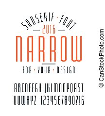 Narrow sanserif font and numbers Medium face Isolated font...
