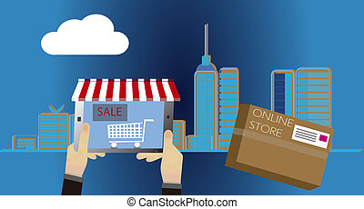 Online shopping concept. Web STORE - shopping online with...