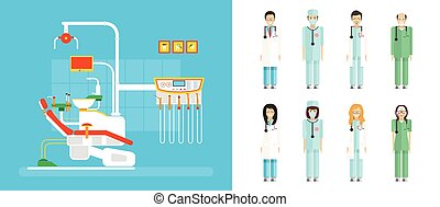 set of dental office with dental chair, medical staff in...