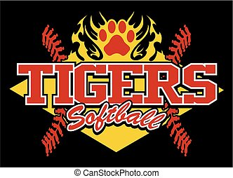 tigers softball team design with flaming paw print for...